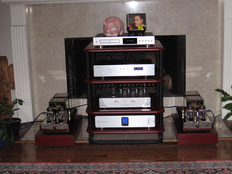 Back in the system. Top to bottom: Onix XCD-88 as transport, DAC-60, modded Audio Experience preamp, Belkin PF-40 power conditioner, Audio Mirror 40 watt parallel 6C33C SET monoblocks.