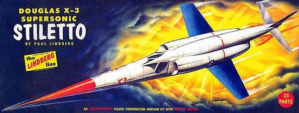 "DOUGLAS X-3 SUPERSONIC STILETTO <br /> ORIGINAL ISSUE. LINDBERG 1959<br /> UNBUILT. MINT IN  NEAR MINT BOX.<br /> 1/4"" SCALE<br /> KIT # 530:98"