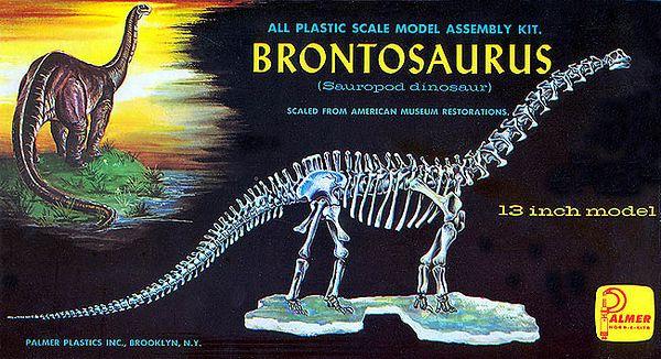 "BRONTOSAURUS (SAUROPOD DINOSAUR)<br /> ORIGINAL ISSUE. PALMER PLASTICS.  ca.1958<br /> 13"" MODEL. MINT IN MINT BOX.    <br /> KIT # 111-1.00"