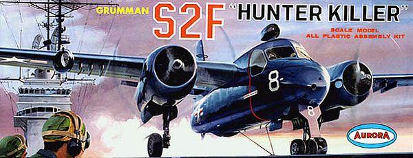 """GRUMMAN S2F """"HUNTER KILLER""""<br /> ORIGINAL ISSUE. AURORA 1963<br /> UNBUILT. MINT IN  NEAR MINT BOX.<br /> 1/4"""" SCALE<br /> KIT #  145-109"""