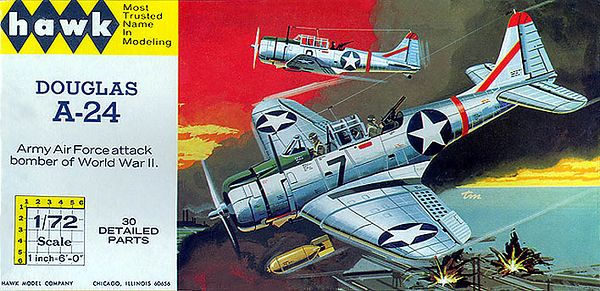 "DOUGLAS A-24.<br /> ORIGINAL ISSUE. HAWK  1965.<br /> UNBUILT. MINT IN NEAR MINT BOX .<br /> 1/72"" SCALE<br /> KIT #  612-50"