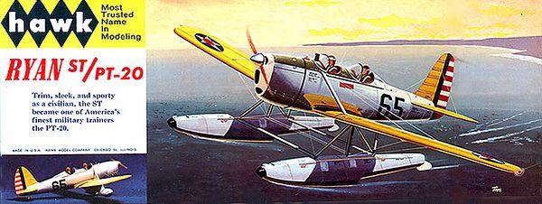 "RYAN ST/PT-20.<br /> ORIGINAL ISSUE. HAWK  1965.<br /> UNBUILT. MINT IN NEAR MINT BOX .<br /> 1/4"" SCALE<br /> KIT #  510-100"