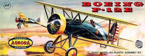 "BOEING P-12E<br /> ORIGINAL ISSUE. AURORA 1958<br /> (FAMOUS FIGHTERS SERIES) . <br /> UNBUILT. MINT IN NEAR MINT BOX.<br /> 1/4"" SCALE<br /> KIT # 121-.69"