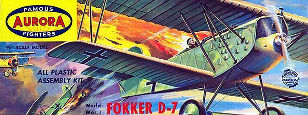 "FOKKER D-7<br /> ORIGINAL ISSUE. AURORA 1958<br /> (FAMOUS FIGHTERS SERIES) . <br /> UNBUILT. MINT IN MINT BOX.<br /> 1/4"" SCALE<br /> KIT # 106-.79"