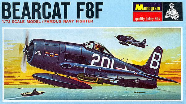 "BEARCAT F8F.<br /> ORIGINAL ISSUE. MONOGRAM  1967.<br /> UNBUILT. MINT IN NEAR MINT BOX (STILL SEALED).<br /> 1/72"" SCALE<br /> KIT #  PA144.70<br /> NOTE: Purchased at Kmart in 1967 for 56 cents)"