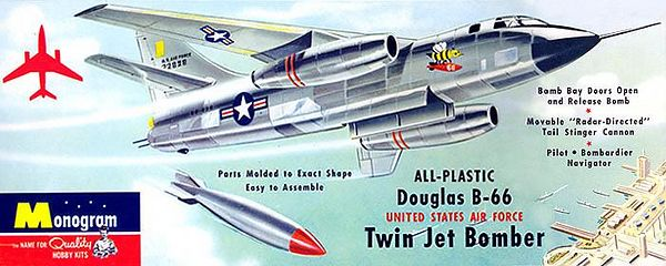 "DOUGLAS B-66 TWIN JET BOMBER.<br /> (UNITED STATES AIR FORCE)<br /> ORIGINAL ISSUE. MONOGRAM  1955.<br /> UNBUILT. MINT IN NEAR MINT BOX.<br /> 1/4"" SCALE<br /> KIT #  PA10 . 98"