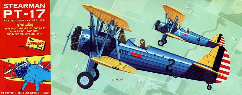 STEARMAN PT-17 KAYDET PRIMARY TRAINER<br /> ORIGINAL ISSUE. LINDBERG 1966.<br /> UNBUILT.  MINT IN NEAR MINT BOX.<br /> 1/48  SCALE<br /> KIT # 508M-100