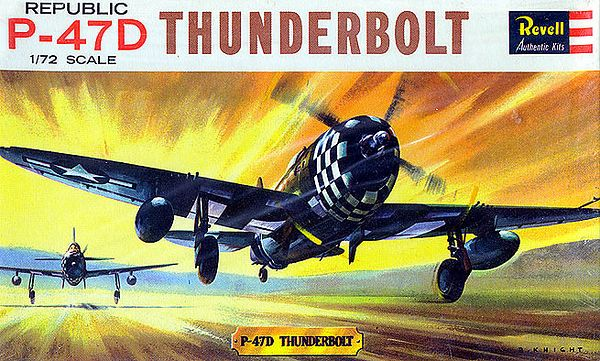 "REPUBLIC P-47D THUNDERBOLT.<br /> ORIGINAL ISSUE. REVELL  1963.<br /> UNBUILT. MINT IN MINT BOX (STILL SEALED).<br /> 1/72"" SCALE<br /> KIT #  H613-49:"