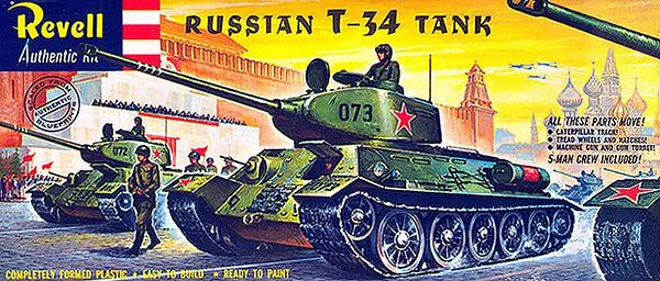 "RUSSIAN T-34 TANK<br /> ORIGINAL ISSUE 'S' KIT. REVELL  1963.<br /> UNBUILT. MINT IN NEAR MINT BOX.<br /> 1/4"" SCALE<br /> KIT # H-538:129"