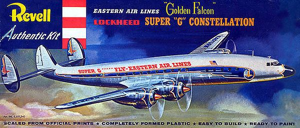 "LOCKHEED SUPER ""G"" CONSTELLATION<br /> EASTERN AIR LINES ""GOLDEN FALCON""<br /> ORIGINAL ISSUE 'S' KIT. REVELL 1958.<br /> UNBUILT. NEAR MINT IN EXCELLENT BOX.<br /> 1/4"" SCALE<br /> KIT # H-245:98"