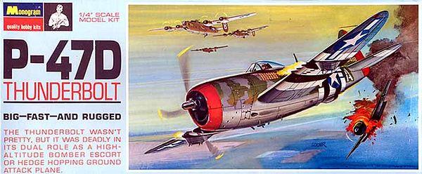 """P-47D THUNDERBOLT<br /> ORIGINAL ISSUE. MONOGRAM  1967.<br /> UNBUILT. MINT IN  MINT BOX.<br /> 1/4"""" SCALE<br /> KIT #  PA187 . 150"""