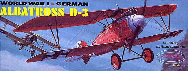 "GERMAN ALBATROSS D-3<br /> ORIGINAL ISSUE. AURORA 1970<br /> UNBUILT. MINT IN  MINT BOX.<br /> 1/4"" SCALE<br /> KIT #  104-100"