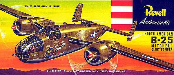 "NORTH AMERICAN B-25 MITCHELL GIANT BOMBER.<br /> ORIGINAL ISSUE. REVELL  1957.<br /> UNBUILT. MINT IN MINT BOX.<br /> 1/4"" SCALE<br /> KIT #  H216:98"