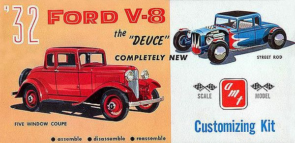 ".'32 FORD V-8 (THE ""DEUCE"") + CUSTOMIZING KIT, 3 IN 1<br /> ORIGINAL ISSUE. AMT 1961.<br /> UNBUILT. MINT IN MINT BOX.<br /> 1/4"" SCALE<br /> KIT #  232  1.49"