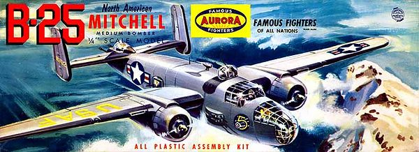 "B-25 NORTH AMERICAN <br /> MITCHELL MEDIUM BOMBER<br /> ORIGINAL ISSUE. AURORA 1957<br /> (FAMOUS FIGHTERS SERIES) . <br /> UNBUILT. MINT IN MINT BOX.<br /> 1/4"" SCALE<br /> KIT # 373-2.59"