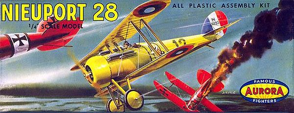 "NIEUPORT 28.<br /> ORIGINAL ISSUE. AURORA 1957<br /> (FAMOUS FIGHTERS SERIES) . <br /> UNBUILT. MINT IN NEAR MINT BOX.<br /> 1/4"" SCALE<br /> KIT # 108-69"