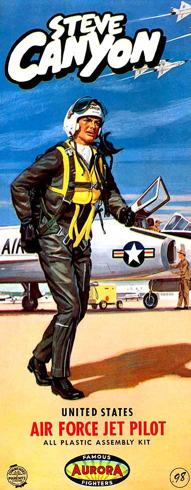 "STEVE CANYON (MIG KILLER)<br /> UNITED STATES AIR FORCE PILOT<br /> ORIGINAL ISSUE. AURORA 1958<br /> (FAMOUS FIGHTERS SERIES) . <br /> UNBUILT. GEM MINT IN GEM MINT BOX. [FLAWLESS]<br /> 1/4"" SCALE<br /> KIT # 104-.98"