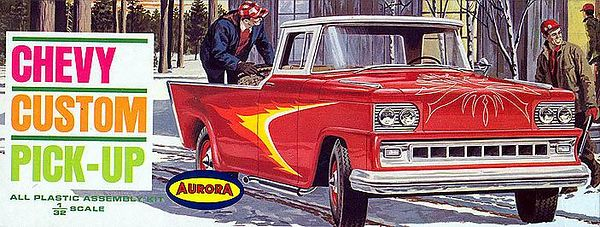 "'62 CHEVY CUSTOM PICK-UP (""DRAGGIN WAGON"")<br /> ORIGINAL ISSUE. AURORA 1963<br /> UNBUILT. MINT IN  MINT BOX.<br /> 1/32"" SCALE<br /> KIT #  555-79"