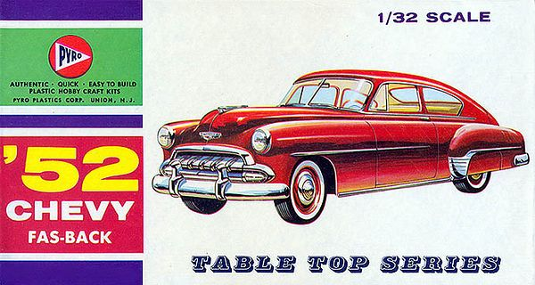 "'52 CHEVY FAS-BACK<br /> ORIGINAL ISSUE. PYRO 1964<br /> UNBUILT. MINT IN  NEAR MINT BOX.<br /> 1/32"" SCALE<br /> KIT #  C293-50"
