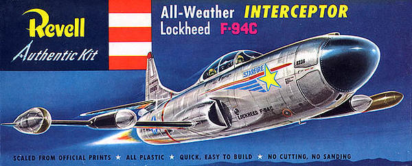 "LOCKHEED F-94C INTERCEPTOR.<br /> ORIGINAL ISSUE. REVELL  1955.<br /> UNBUILT. MINT IN MINT BOX.<br /> 1/4"" SCALE<br /> KIT #  H-210:79"