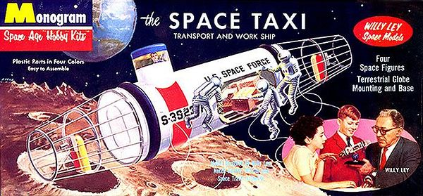 "THE SPACE TAXI.<br /> ORIGINAL ISSUE. MONOGRAM  1959.<br /> UNBUILT. MINT IN MINT BOX.<br /> 1/4"" SCALE<br /> KIT #  PS45 . 129"