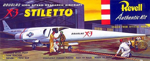 "X-3 STILETTO <br /> (DOUGLAS HIGH SPEED RESEARCH AIRCRAFT)<br /> ORIGINAL ISSUE 'S' KIT. REVELL 1957.<br /> UNBUILT. MINT IN MINT BOX.<br /> 1/4"" SCALE<br /> KIT # H-259:89"