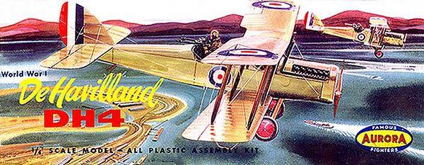 """DE HAVILLAND DH4<br /> ORIGINAL ISSUE. AURORA 1957<br /> (FAMOUS FIGHTERS SERIES) . <br /> UNBUILT. MINT IN NEAR MINT BOX.<br /> 1/4"""" SCALE<br /> KIT # 112-98"""