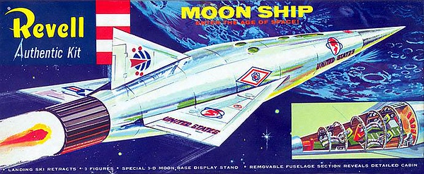 """MOON SHIP (ENTER THE AGE OF SPACE!).<br /> ORIGINAL ISSUE 'S' KIT. REVELL  1957.<br /> UNBUILT. MINT IN MINT BOX.<br /> 1/4"""" SCALE<br /> KIT # H-1825: 79"""