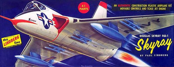 "DOUGLAS SKYRAY F4D-1<br /> ORIGINAL ISSUE. LINDBERG 1958<br /> UNBUILT. MINT IN  MINT BOX.<br /> 1/4"" SCALE<br /> KIT # 523:98"