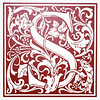 "Monogram wall art. Red Vinyl approx. 23""x23""."