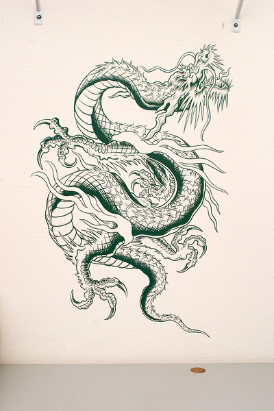 """Dragon I did for the office at the request of my boss. Approx. 24""""x34"""" in dark green vinyl."""