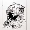 2 foot by 2 foot T-Rex dinosaur head I did for my nephew's room. Black Vinyl on a closet door.