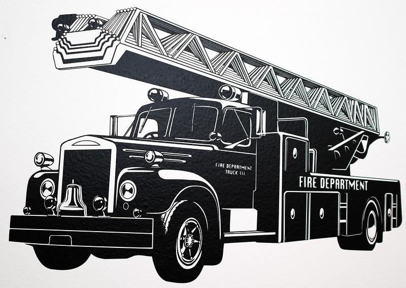 "Old fire truck vinyl wall art. Black Vinyl approx. 23""x15""."