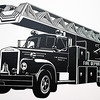 "Old fire truck vinyl wall art. Black Vinyl approx. 23""x15""."