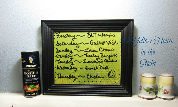 Menu Picture Frame<br /> Added some card stock to the frame and use dry erase markers to make the menu.