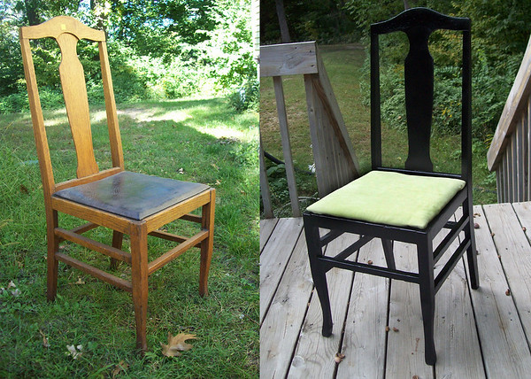 Thrift shop chair.  I painted it black and added new fabric to the seat.  I later added foam and re-upholstered the seat for my son's room.