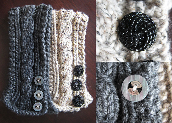 My mother in law makes these awesome neck warmers.  I love them!  They are so soft and warm, I never leave the house without one.  I even wear them around the house sometimes in the winter to keep the chill off my neck.  I really like the detail and stylish buttons too!