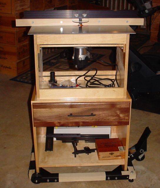 Fuller view - lower carcass made by Dave - edge banded plywood w/ drawer (walnut face - just 3 glued-up scraps but looks good!) - mobile stand - many options