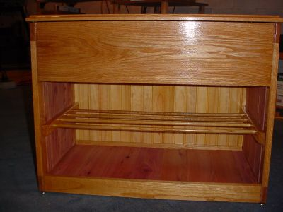 Oak-Pine-Cedar shoe storage - front