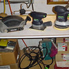 Sanders ready to go - mini belt (left) and two Festool machines