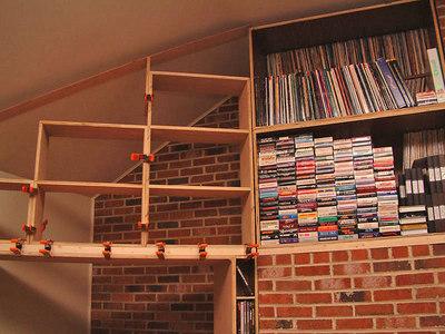 Preparing for trapezoidal filler shelves.
