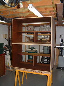 Upper right cabinet carcass in the shop.