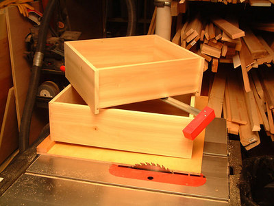 Drawer boxes assembled in shop.