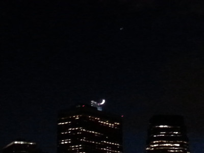 crescent Moon and building