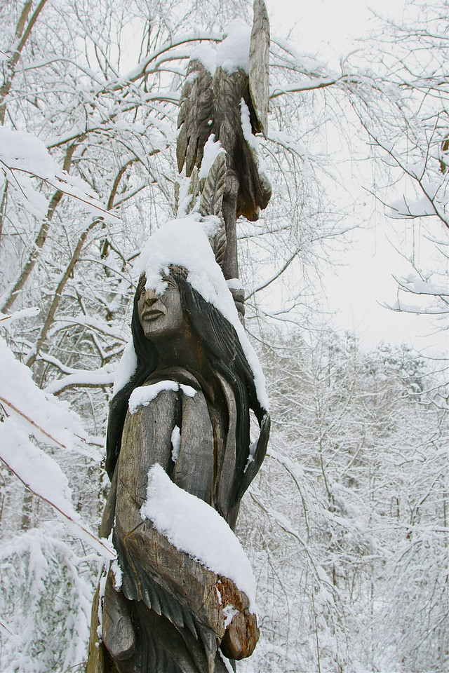 Totem in the snow. Asheville, NC