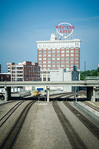 View from the pedestrian bridge behind Union Station in Kansas City, MO.