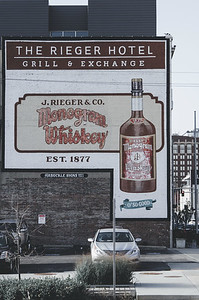 Hand-painted add for whiskey outside the J. Rieger Hotel, Grill & Exchange.  Kansas City, MO.
