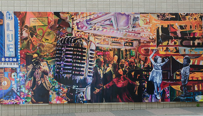 Mural on the outside of the Jazz Museum in Kansas City, MO.