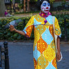Woman with face painted in Washington Square Greenwich village NYC