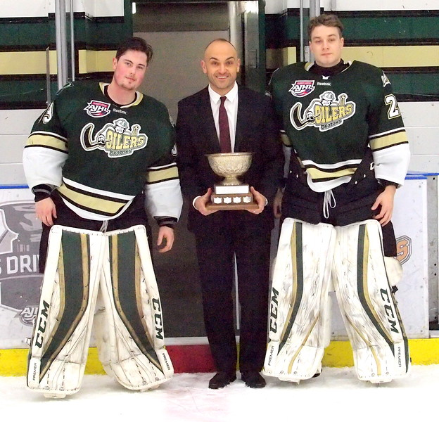 2017 -2018 AJHL Top Goalie Tandem (least goals against) Riley Morris and Ben Howard